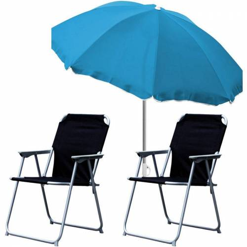 MOJAWO 2x Campingstuhl schwarz + Sonnenschirm 180cm