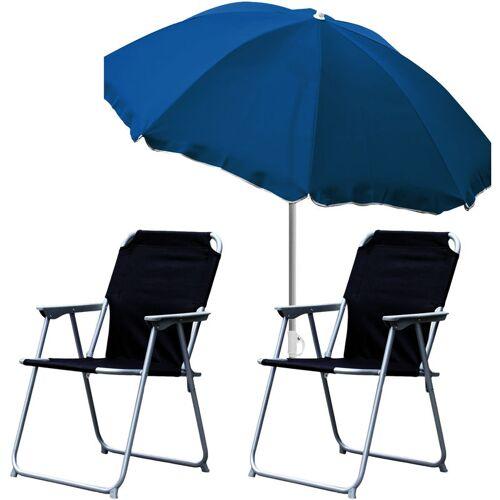 MOJAWO 2x Campingstuhl schwarz + Sonnenschirm Ø180cm