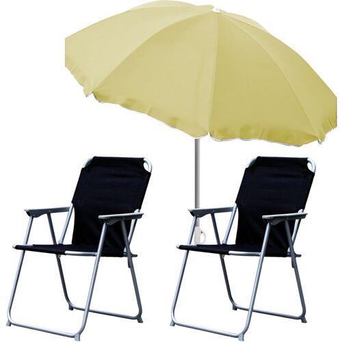 MOJAWO 2x Campingstuhl schwarz + Sonnenschirm 200cm