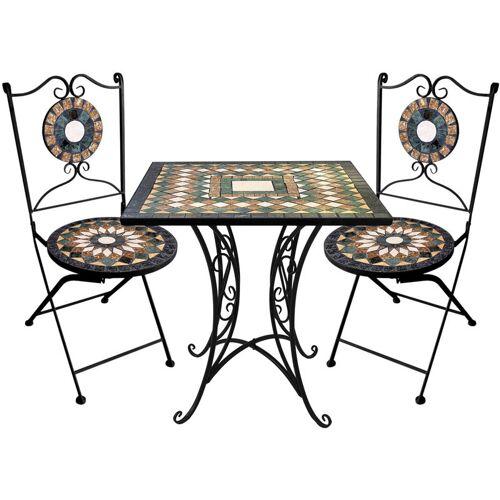 WOHAGA® Wohaga ® - 3tlg. Sitzgarnitur Mosaikgarnitur 70x70cm + 2x Mosaik