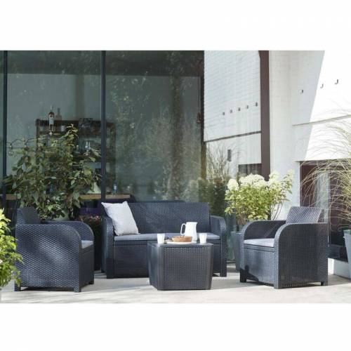 ALLIBERT Garten-Lounge-Set 4 tlg. Novara Anthrazit - Allibert