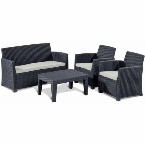 ALLIBERT Lounge Sitzgruppe Merida Graphit Gartenmöbel Gartenset Terrassenmöbel
