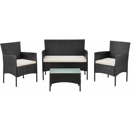 ArtLife Juskys Polyrattan Gartenmöbel-Set Fort Myers– Sitzgruppe mit Tisch,