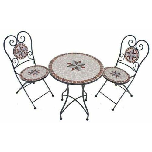 Etc-shop - Mosaik Gartentisch Set 3 teilig Balkonmöbel Mosaiktisch mit