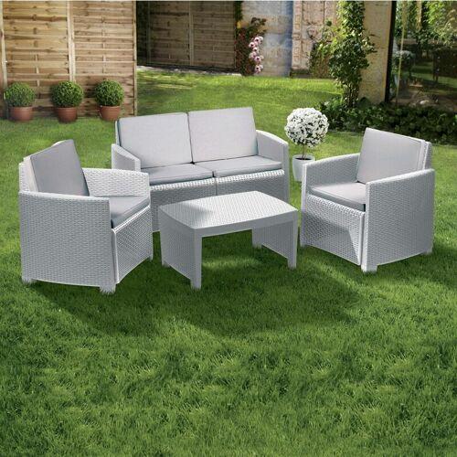 Dmora Garten Loungeset mit 1 Sofa + 2 Sesseln + 1 Couchtisch, mit
