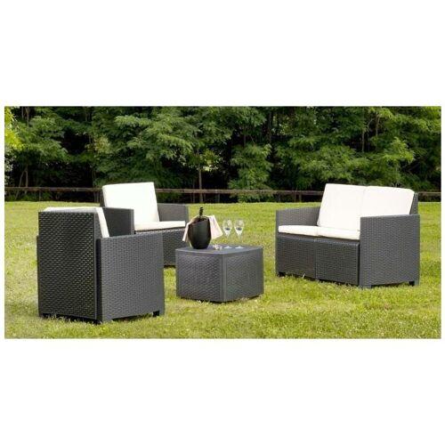 DMORA Gartenset 'j' mit Kissen, 1 Sofa + 2 Sesseln + 1 Couchtisch mit
