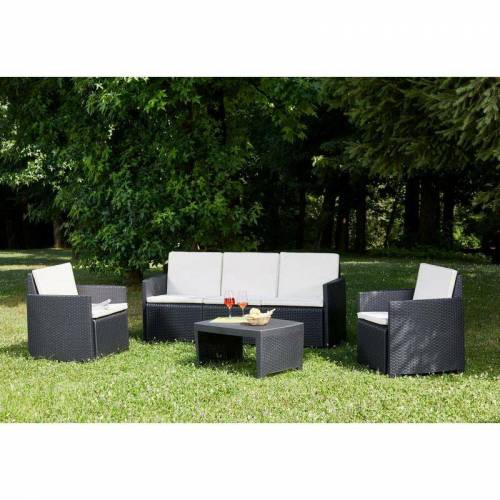 DMORA Loungeset mit: 2 Sesseln, 1 Sofa und 1 Couchtisch, mit Kissen,