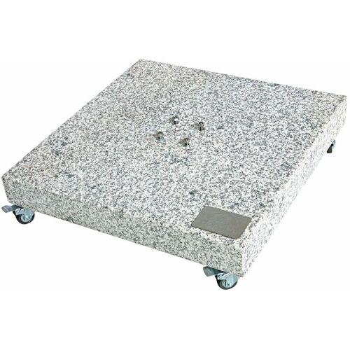 DOPPLER Granitplatte mit Rollen, Sockel für Sonnenschirm, 140 kg, 80 x 80 x 8