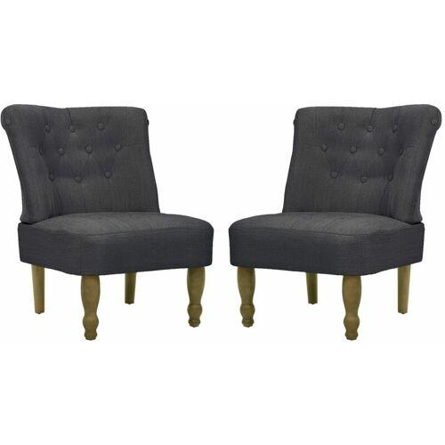 VIDAXL Französischer Sessel Stoff Grau 2 Stk.