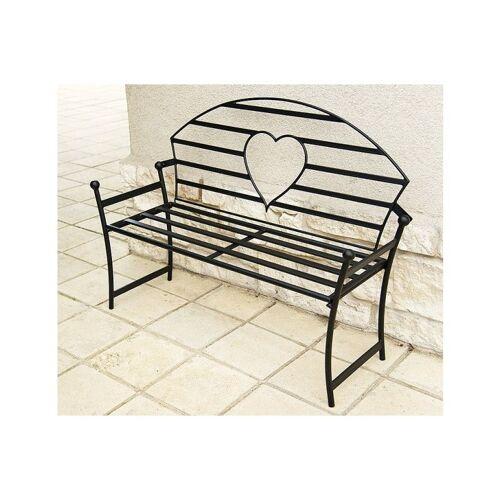 Dandibo - Gartenbank mit Herz aus Metall Schwarz Bank 122 cm Sitzbank