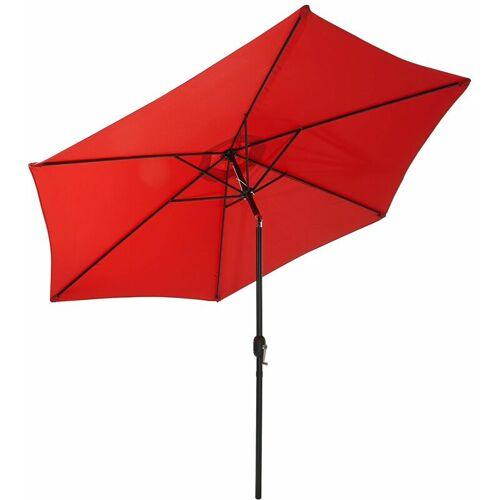 GARTENFREUDE Sonnenschirm, Stahl, 300 cm, rot - Rot - Gartenfreude