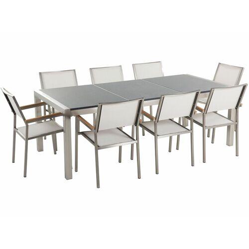 Beliani - Gartenmöbel Set Grau Weiß Granit Edelstahl Tisch 220 cm