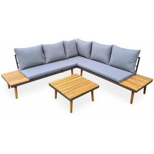 Gartenmöbel Set aus Holz - 4 Plätze - Cachi - Graue Kissen, Ecksofa,