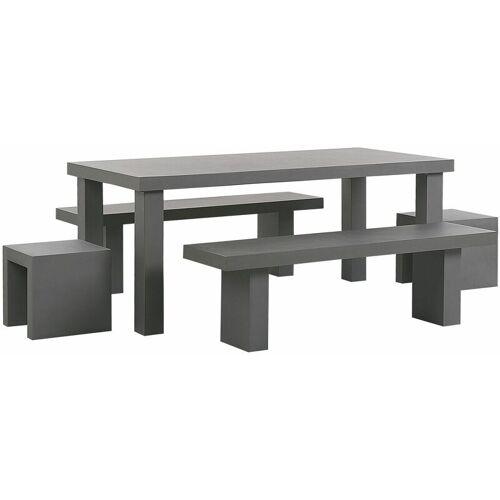 BELIANI Gartenmöbel Set Grau Beton 6-Sitzer Tisch mit 2 Bänken in T-Form und 2