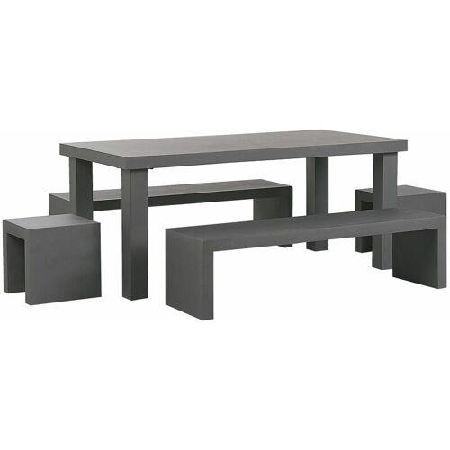 BELIANI Gartenmöbel Set Grau Beton 6-Sitzer Tisch mit 2 Bänken in U-Form und 2
