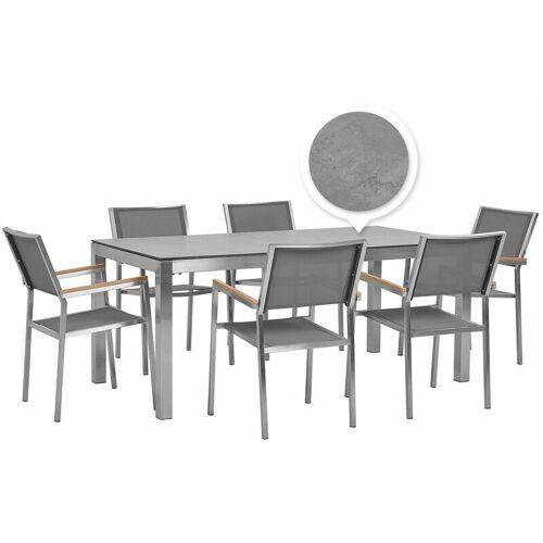 Beliani - Gartenmöbel Set Grau Edelstahl Tisch 180 cm HPL-Platte 6