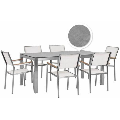 Beliani - Gartenmöbel Set Grau/Weiß Edelstahl HPL-Platte Tisch 180 cm