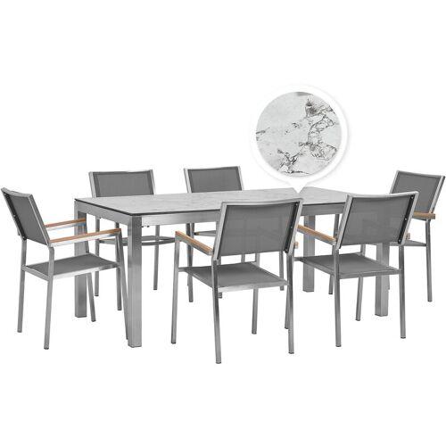 Beliani - Gartenmöbel Set Weiß Edelstahl Tisch 180 cm HPL-Platte 6