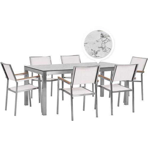 Beliani - Gartenmöbel Set Weiß Edelstahl HPL-Platte Tisch 180 cm mit 6