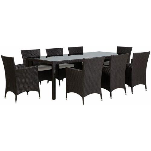 Beliani - Gartenmöbel Set Braun 8-Sitzer 220 x 90 cm aus Polyrattan mit