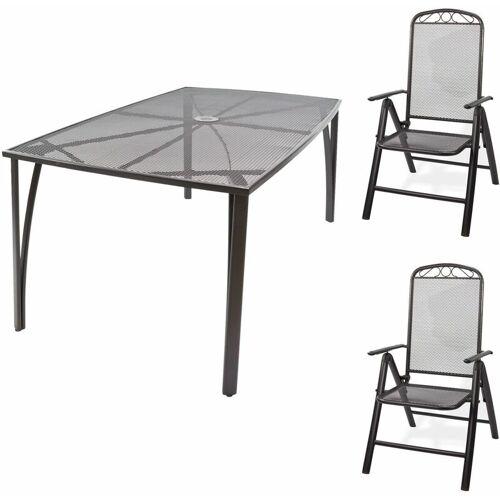 DEMA Gartenmöbel Streckmetall 1 x Tisch 150x90x72 + 2 x Stuhl Set Garten