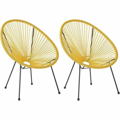 Beliani - Gartenstuhl 2er Set Gelb Polyrattan Spaghetti-Optik Modern