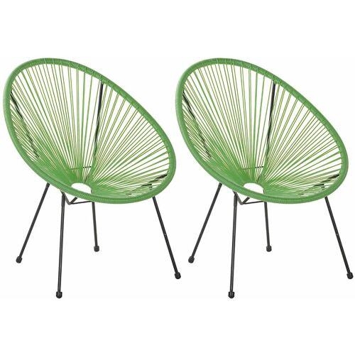 Beliani - Gartenstuhl 2er Set Grün Polyrattan Spaghetti-Optik Modern