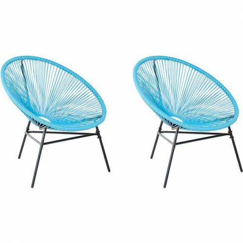 Beliani - Gartenstuhl 2er Set Blau Polyrattan Spaghetti-Optik Modern
