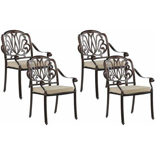 Beliani - Stuhl 4er Set Gartenstuhl Balkonstuhl Aluminium 4 Sitzkissen