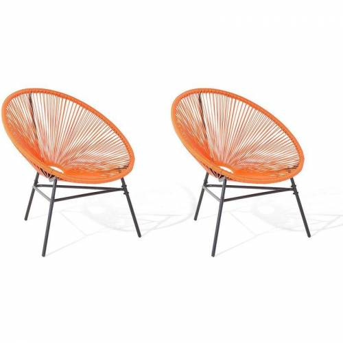Beliani - Gartenstuhl 2er Set Orange Polyrattan Spaghetti-Optik Modern
