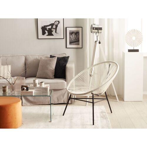 Beliani - Gartenstuhl 2er Set Weiß Polyrattan Spaghetti-Optik Modern