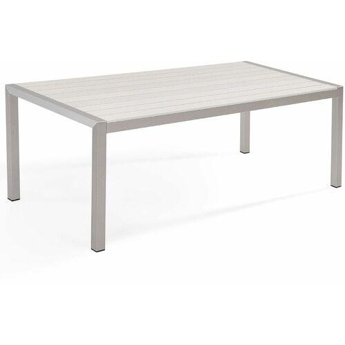 Beliani - Gartentisch Weiß Aluminium für 6 Personen 180 x 90 cm Modern
