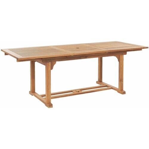BELIANI Gartentisch Holz Braun/Heller Holzfarbton 160/220 x 90 cm aus