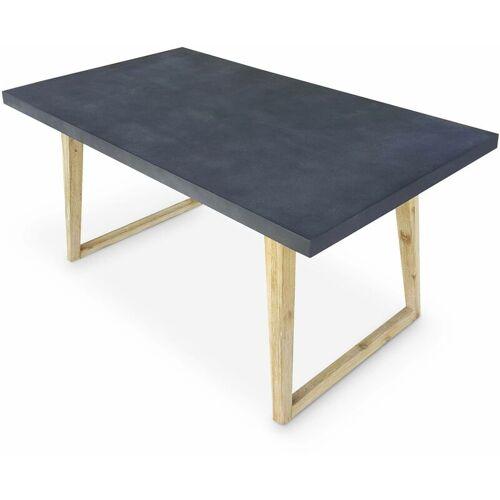 Alice's Garden - Gartentisch aus Faserzement 160 cm, U-förmiger Holzfuß