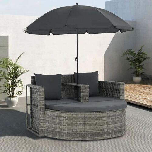HOMMOO 2-Sitzer-Gartensofa mit Auflagen und Sonnenschirm Grau Poly Rattan