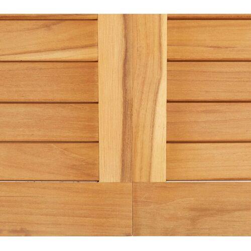Hommoo Garten-Esstisch 150 x 150 x 75 cm Massivholz Teak und Edelstahl