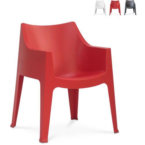SCAB DESIGN Innen- und Außen Stuhl mit Armlehnen Scab Coccolona   Rot