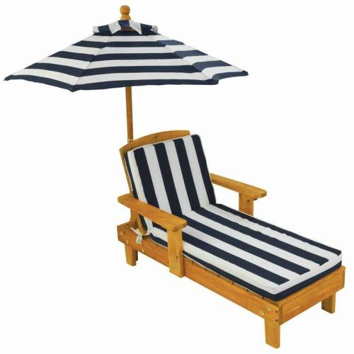 KIDKRAFT Kinderliegestuhl mit Sonnenschirm Marineblau Holz 00105 - Kidkraft