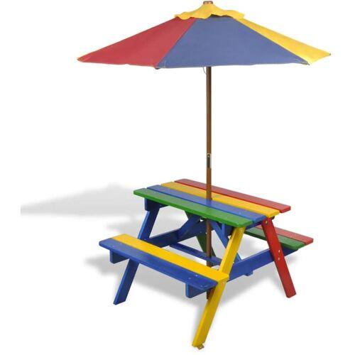 ZQYRLAR Kinder-Picknicktisch mit Bänken Sonnenschirm Mehrfarbig Holz