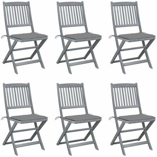 Vidaxl - Klappbare Gartenstühle 6 Stk. mit Sitzkissen Massivholz Akazie