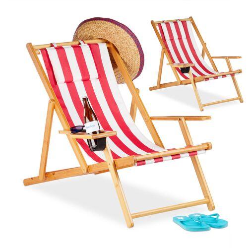 RELAXDAYS Liegestuhl im 2er Set, Strandliegestuhl mit Getränkehalter Ø 10 cm,
