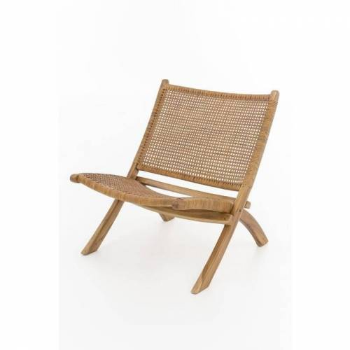 Index-living - Lounge Sessel Teak Holz Leder Stuhl Clubsessel