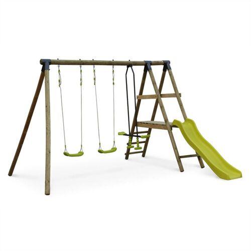 ALICE'S GARDEN MARIN Holzspielplatz mit Rutsche, 1 Wippe, 2 Schaukeln, Kiefer mit