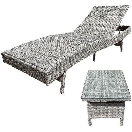 MELKO Sonnenliege Grau Gartenliege verstellbar Relaxliege Strandliege