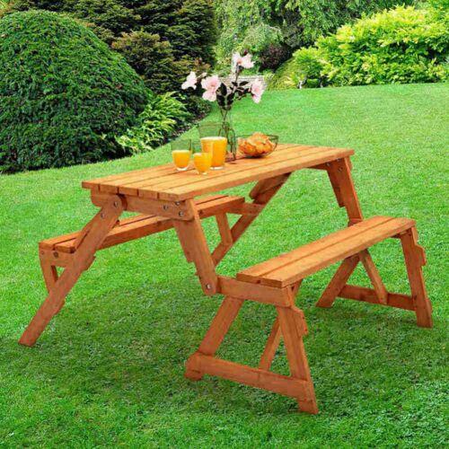 TRUESHOPPING 2 - 1 Faltbarer Picknicktisch und Bank - Öffnung für Sonnenschirm