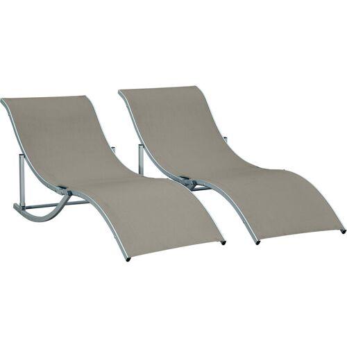 Outsunny ® 2er Set Gartenliege Sonnenliege Stoffliege Relaxliege ergonomisch Alu