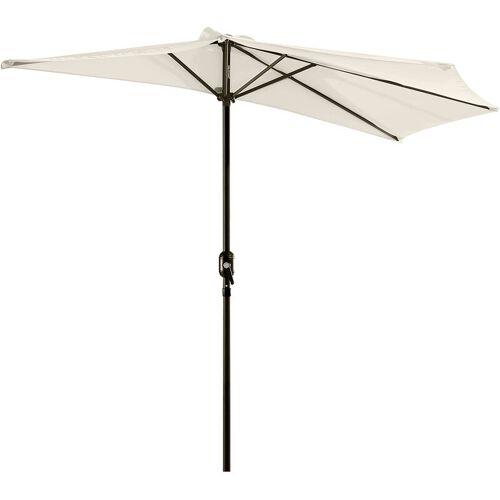 Outsunny® Alu Sonnenschirm Kurbelschirm halbrund cremeweiß - cremeweiß