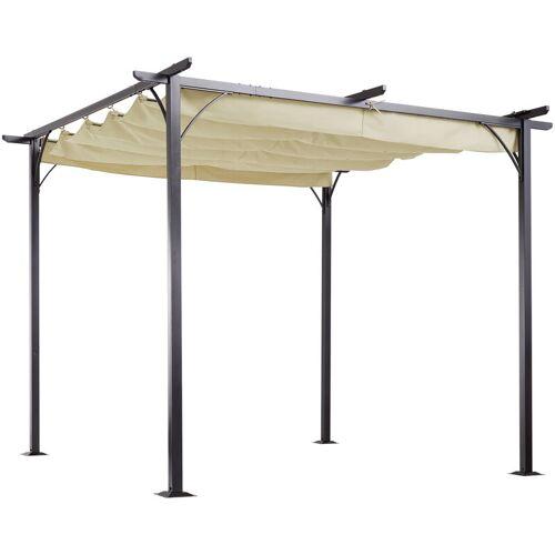 Outsunny ® Cabrio-Pavillon Gartenpavillon mit Schiebedach per Seilzug