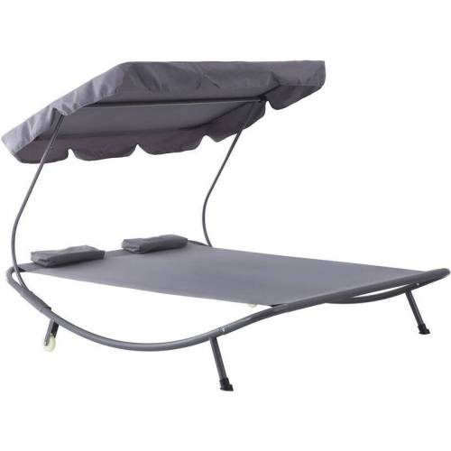 Outsunny ® Doppelliege Sonnenliege rollbar mit Dach Stahl Grau - grau - Outsunny