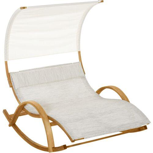 Outsunny ® Doppelliege Sonnenliege Schaukelliege Relaxliege mit Dach Lärche